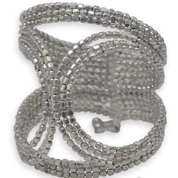 Cut Out Design Silver Tone Bead Flex Cuff Fashion Bracelet