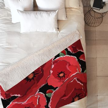 Belle13 Red Poppies On Black Fleece Throw Blanket