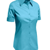 LE3NO Womens Plus Size Short Sleeve Button Down Shirt with Stretch