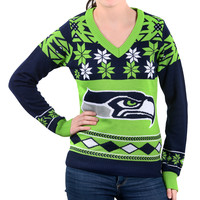 "Seattle Seahawks Women's Official NFL ""Big Logo"" V-Neck Sweater by Klew"