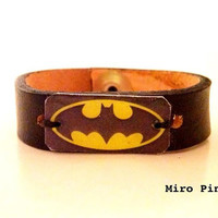 Batman Leather Cuff Bracelet