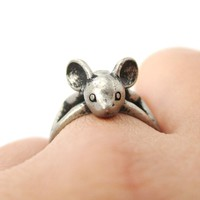 3D Baby Bat Shaped Animal Knuckle Wrap Ring in Silver | Animal Jewelry