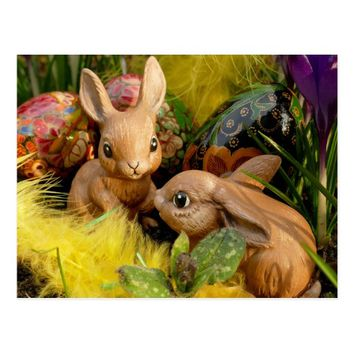 picture of sweet easter bunnies toys postcard