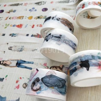 Creative City girl Washi Tape Scrapbooking planner tape Masking kawaii Office adhesive tape label sticker stationery