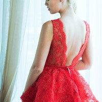 SALE! - Red lace evening dress, open back dress. Only one size!