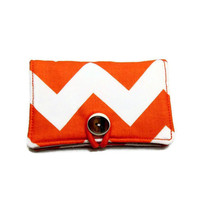 Orange Chevron Business Card Holder