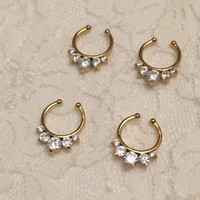 Harper Fake Septum Ring in Gold