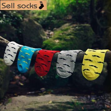 new summer mustache pattern red yellow blue man Casual ankle cotton socks men boat sock slippers harajuku EUR39-44