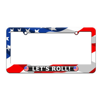 Let's Roll - USA Pride - License Plate Tag Frame - American Flag Design