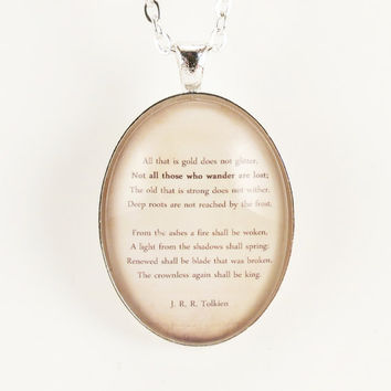 J. R. R. Tolkien Poem Necklace, Hobbit Pendant, LOTR Inspired Jewelry