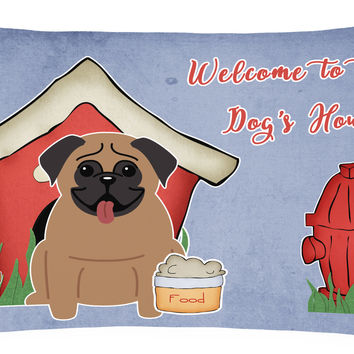 Dog House Collection Pug Brown Canvas Fabric Decorative Pillow BB2759PW1216