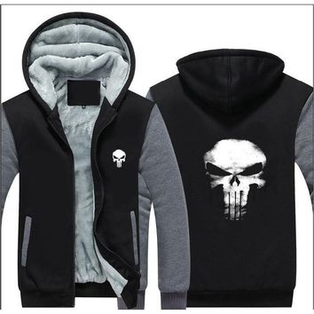 The Punishing Skull  Punisher Skull Cosplay Coat Women Men Zipper Hoodie Winter Fleece Unisex Thicken Jacket Sweatshirts