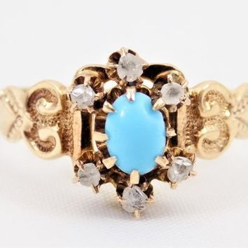 Art Nouveau Blue Opaque Glass Ring with Diamonds, Gold Filled, Size 6, Vintage Rings