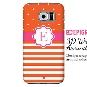 Monogram Samsung Galaxy S6 Edge case, orange Galaxy S6 case, Galaxy S5 case, Galaxy S4 case, custom Galaxy S6 case, striped Galaxy case