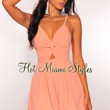 Peach Knotted Tie Up Babydoll Romper