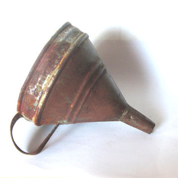 Old metal funnel. Rusty metal large funnel. Industrial metal. Rustic tinware. Farmhouse primitives. Vintage.