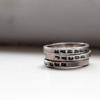 Mothers Day Hand Stamped Stacking Rings Personalized Mommy Jewelry
