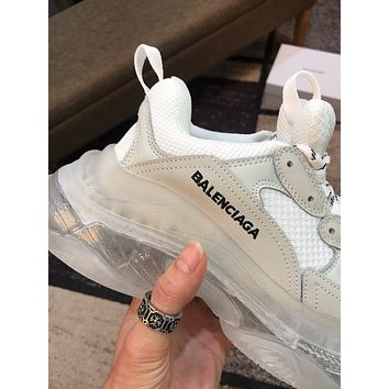 Balenciaga Fashion Cool Edgy Triple S Clear Sole Trainers Wine Red Sneakers Sport Shoes white best quality