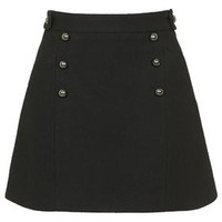 PETITE Matelot Wool Blend A-Line Skirt - Black