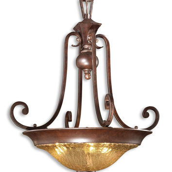 Uttermost Elba 3 Light Crackle Glass Pendant - 21813