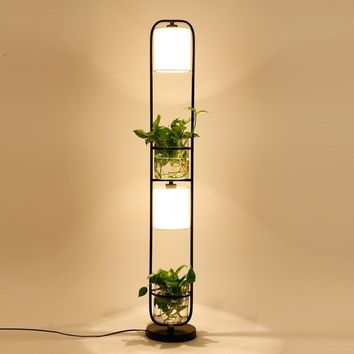 Creative iron plant floor lamp  Nordic living room  bedroom office personalized cloth glass flower and grass floor lamp
