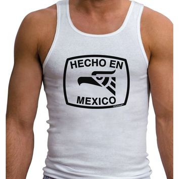 Hecho en Mexico Eagle Symbol with Text Mens Ribbed Tank Top by TooLoud