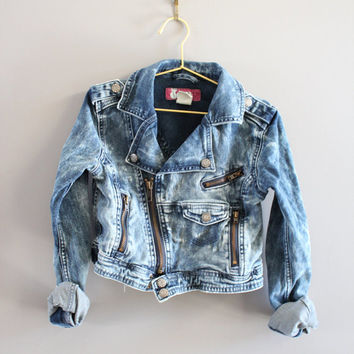 Girl's Washed Denim Biker Jacket Cropped Acid Wash Zippers Motor Jacket Size 6 - 7 Y