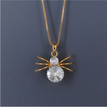 Fashion Crystal Spider Shaped Stainless Steel Pendant Necklace (Golden)
