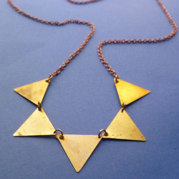 Bunting necklace in gold and brass by littlepancakes on Etsy