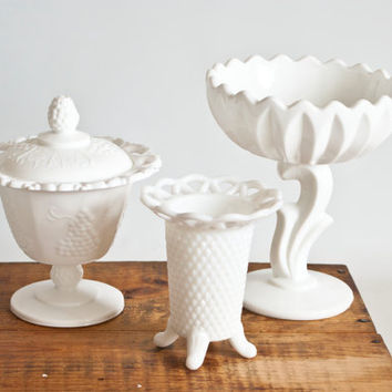 Instant Collection- 3 Milk Glass Floral Vases, Wedding Tablescapes, Imperial Glass, Diamond Point, Lotus Flower, Harvest Colony Grape