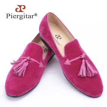 New pink color men velvet shoes fashion leather tassel men loafers wedding and party shoes men's flat