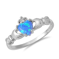 Sterling Silver Heart Shaped Blue Lab Opal Claddagh Ring