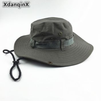XdanqinX Summer Men's Women's Tourism Bucket Hats Large Brim Round Fashion Casual Fishing Hat Wind Rope Fixing Sun Hat Adult