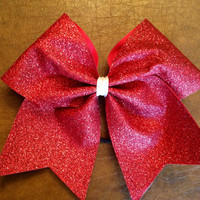 Cheer Bow - Red Glitter