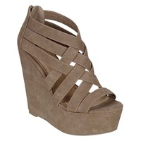 Womens Platform Sandals Open Toe High Wedge Heel Back Zip Crisscross Sexy Straps