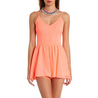 NEON CHIFFON STRAPPY BACKLESS ROMPER