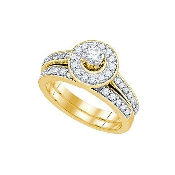 14k Yellow Gold Round Diamond Solitaire Halo Bridal Wedding Engagement Ring Band Set 1.00 Cttw