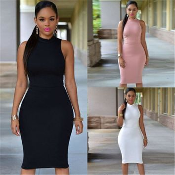 Women Summer Solid tight-fitting backless sexy club office pencil Dress Ankle-Length Chest Button Short Sleeve Bodycon Dress