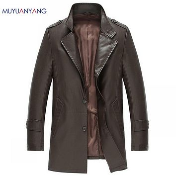Leather Fur Clothing Men Long Leather Jacket And Coat Black & Brown Single Breasted Man Spring Leather Coats