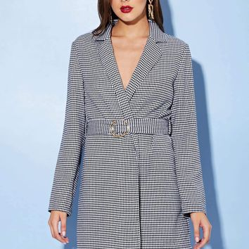 Belted Houndstooth Blazer Dress