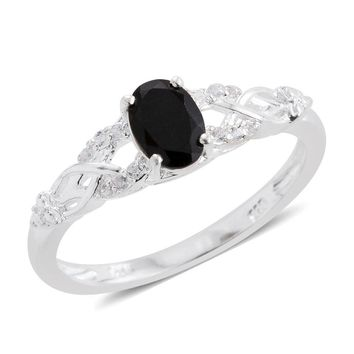 Black Tourmaline, Cambodian Zircon Sterling Silver Ring