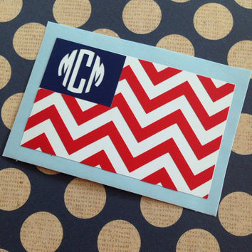 Chevron American Flag Monogrammed Decal | Chevron Monograms | Chevron Vinyl Decals | Patriotic Decal | Patriotic Monograms | Preppy Flag |