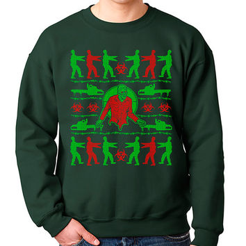 Zombie Ugly Christmas Sweater Crewneck Sweatshirt Funny Zombies Horror X-Mas Brains Geek Geekery Mens Womens Kids S-5XL Great Gift Idea