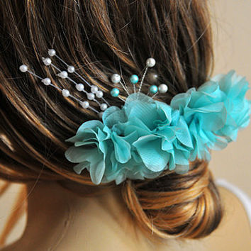 Mint Wedding Flower Hair Comb, Bridesmaid Gifts, wire hair comb, hair accessories, weddings, Hair Accessory, Flower hair Comb, Hair Flower