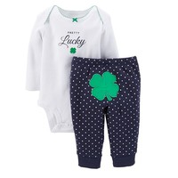 Carter's ''Pretty Lucky'' Shamrock Bodysuit & Polka Dot Pants Set - Baby Girl