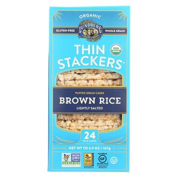 Lundberg Organic Thin Stackers䋢 Rice Cakes Lightly Salted Brown Rice - 5.9 oz