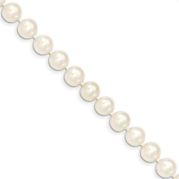 8-9mm, White FW Cultured Pearl & 14k Yellow Gold Clasp Necklace