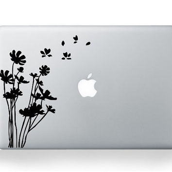 White Flower ---  Mac Decal Macbook Decals Macbook Stickers Vinyl decal for Apple Macbook Pro/Air iPad
