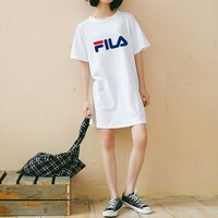 """Fila"" Women Sport Casual Multicolor Letter Print Short Sleeve Middle Long Section T-shirt Loose Dress"