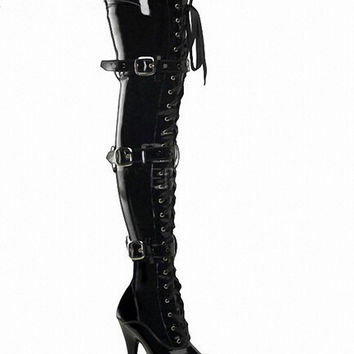 Shoes Woman 15cm High Heels Black Thigh High Boots Sexy Women Boots High Heel Fetish Over Knee Platform Womens Boots Plus Size